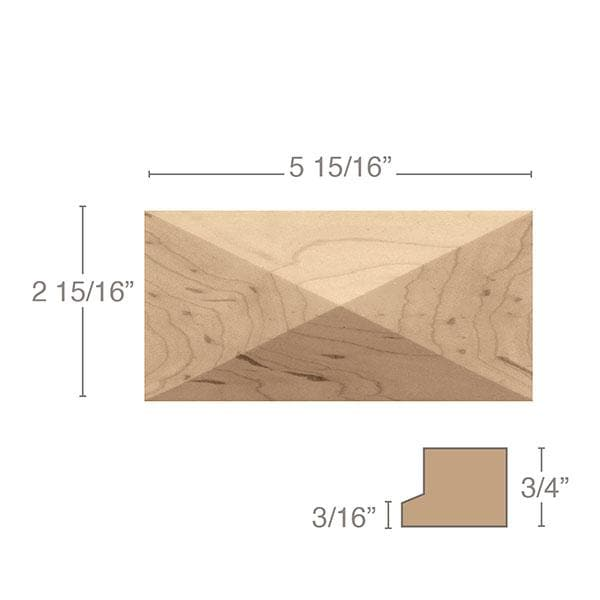 "Long Pinnacle Tile, 5 15/16""sq. x 2 15/16"" x 3/4"""