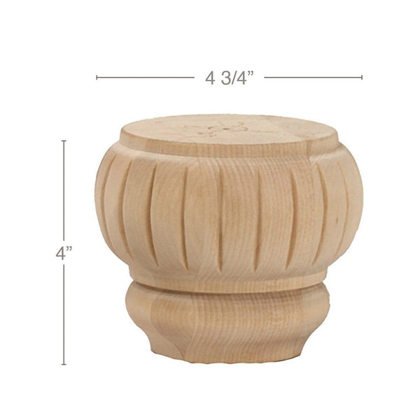 Traditional Round Reeded Bun Foot, 4 3/4
