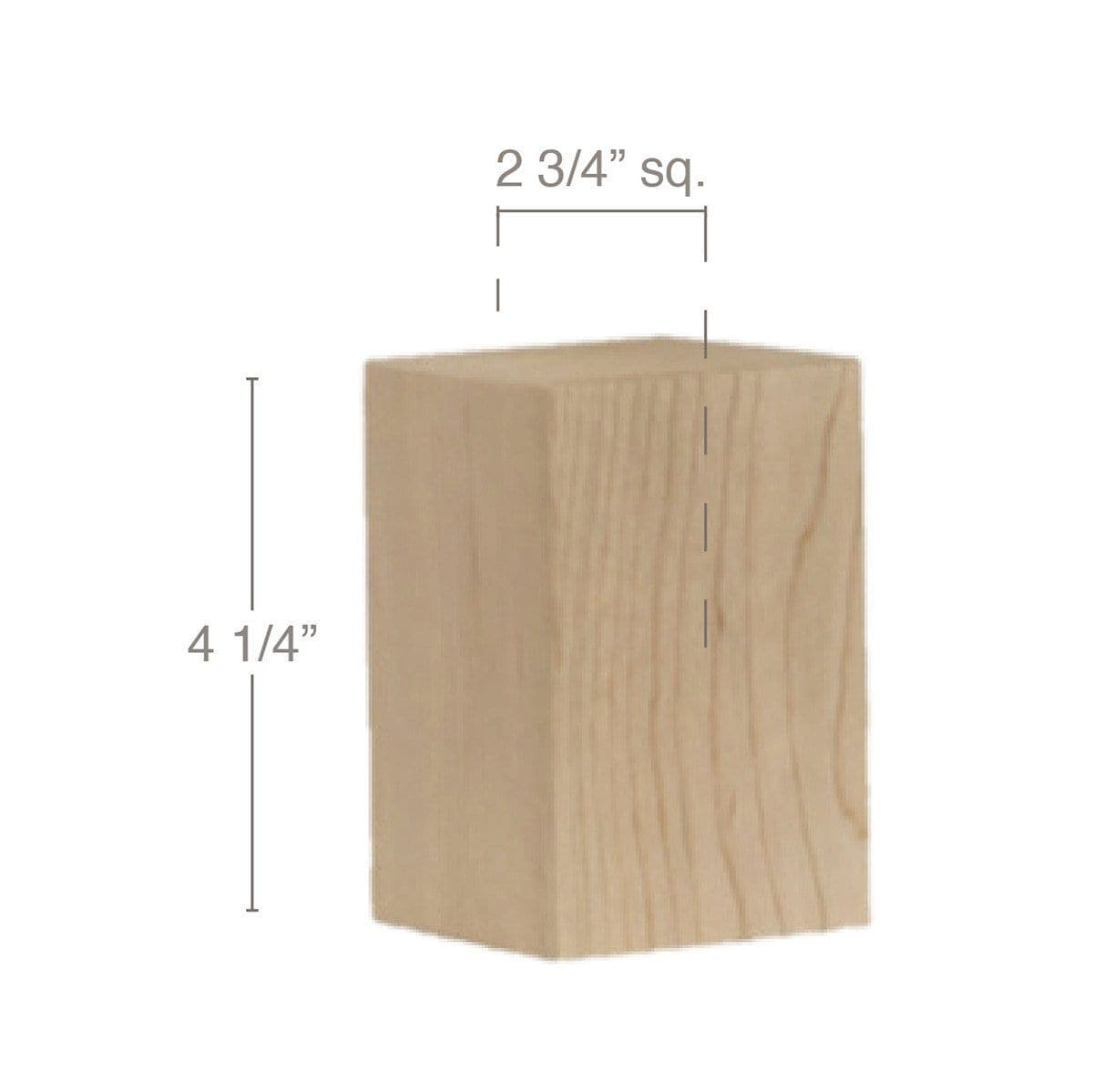 "Contemporary Tall Straight Square Bun Foot, 2 3/4""sq. x 4 1/4""h"