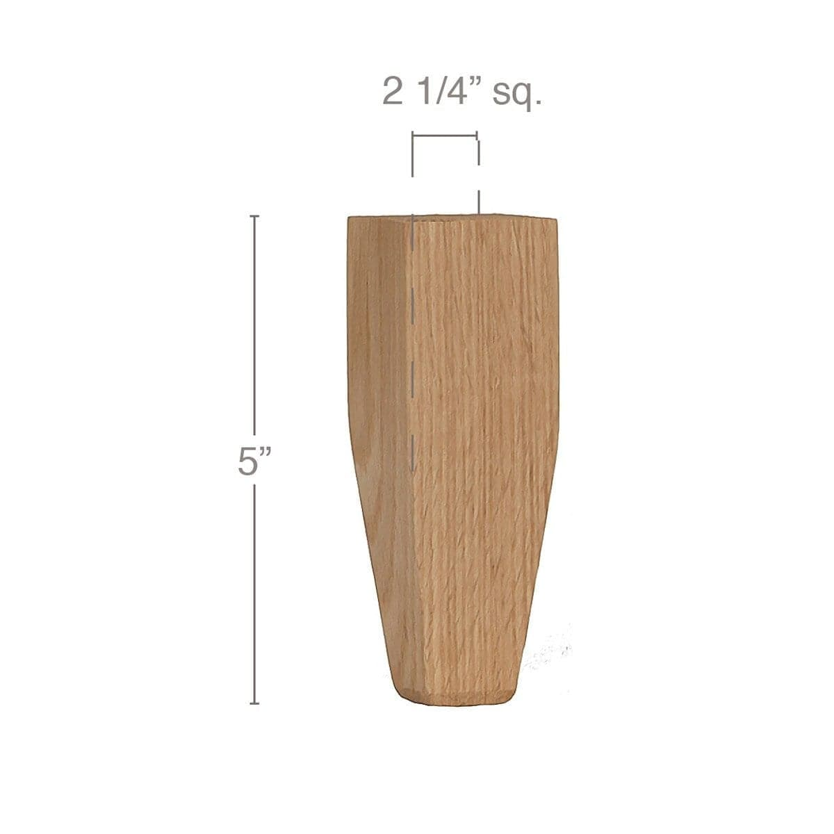 "Shaker Tall Tapered Square Bun Foot, 2 1/4""sq. x 5""h"