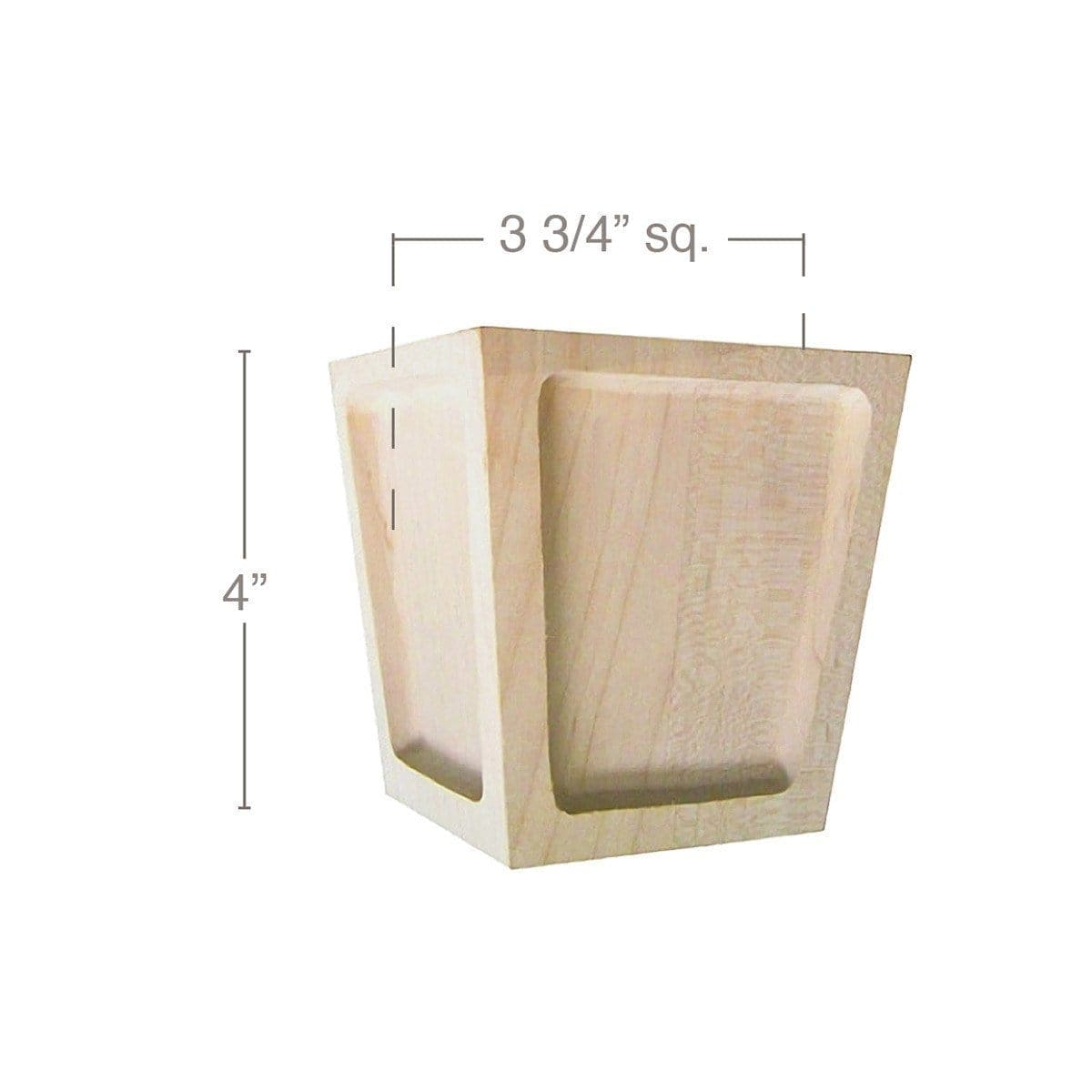 "Mission Square Bun Foot, 3 3/4""sq. x 4""h"