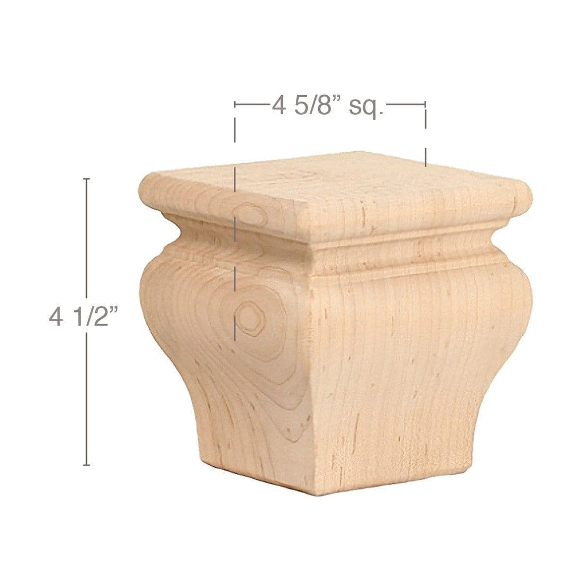"Classic Square Bun Foot, 4 5/8""sq. x 4 1/2""h"