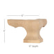 "Corner Square Face Wood Pedestal Foot, 6""w x 4""h x 6""d"