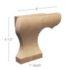 "Left Curved Edge Wood Pedestal Foot, 6""w x 4 1/2""h x 1""d"