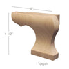 "Right Curved Edge Wood Pedestal Foot, 6""w x 4 1/2""h x 1""d"
