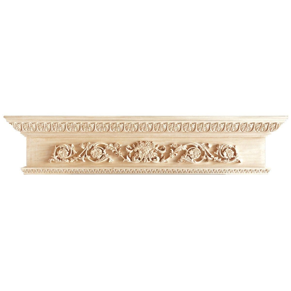 Rinceau Scroll with Flower Basket, 60'' x 8'' x 12 1/2'', Lindenwood