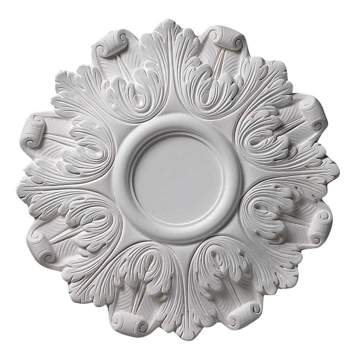 "Ring of Acanthus , 4 3/4"" center, 16 ¾'' dia. x 1 ¼''d, Plaster, Made To Order, Minimum Order Amount $300"