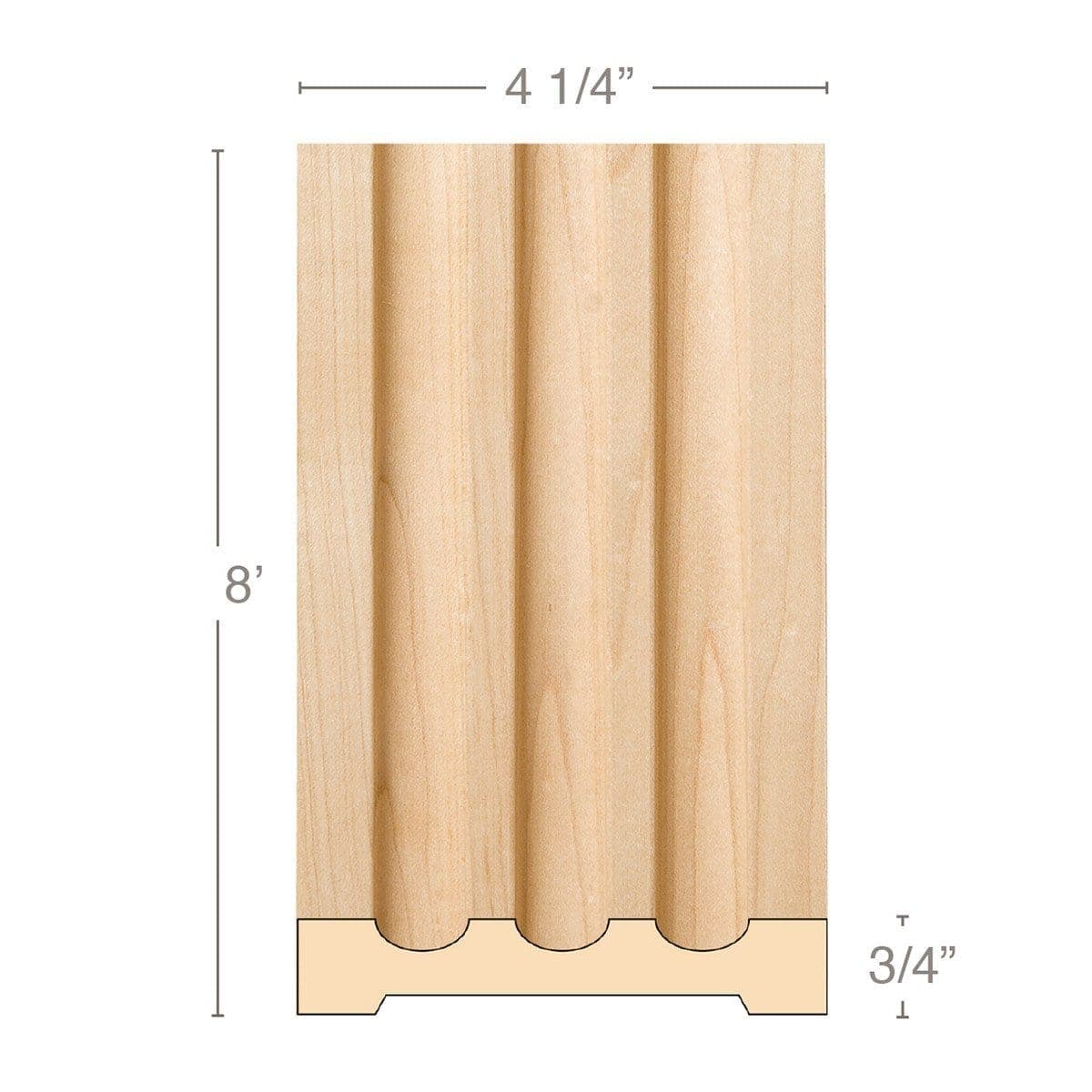 "Large Fluted Pilaster, 4 1/4""w x 3/4""d x 8' length, Resin is priced per 8' length"