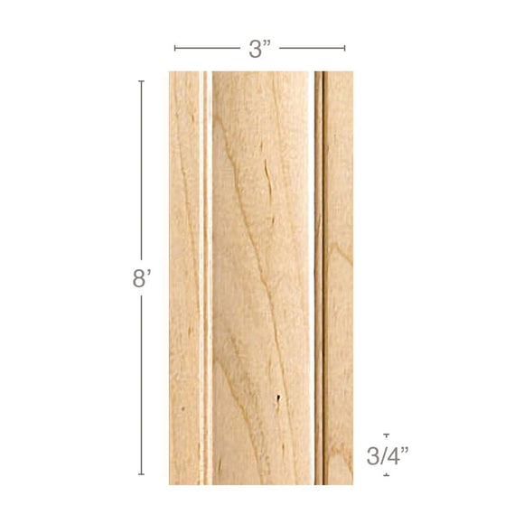 Traditional Pilaster Large, 3''w x 3/4''d x 8' length, Resin is priced per 8' length