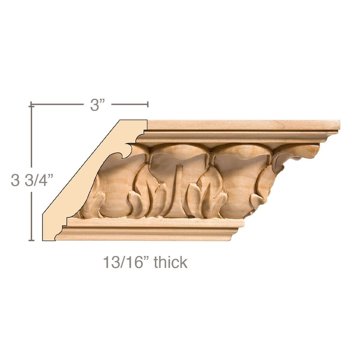 Large Acanthus Crown (Repeats 3 1/2), 4 3/4''w x 13/16''d x 8' length, Resin is priced per 8' length