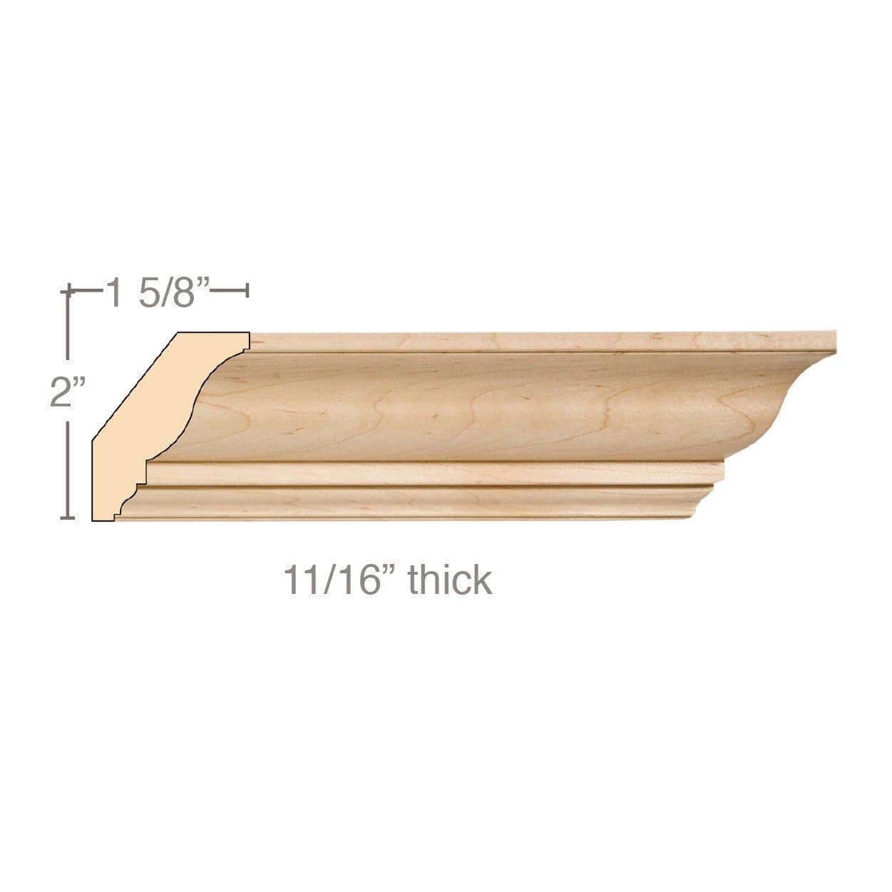 Medium Traditional Crown, 2 1/2''w x 11/16''d x 8' length, Resin is priced per 8' length