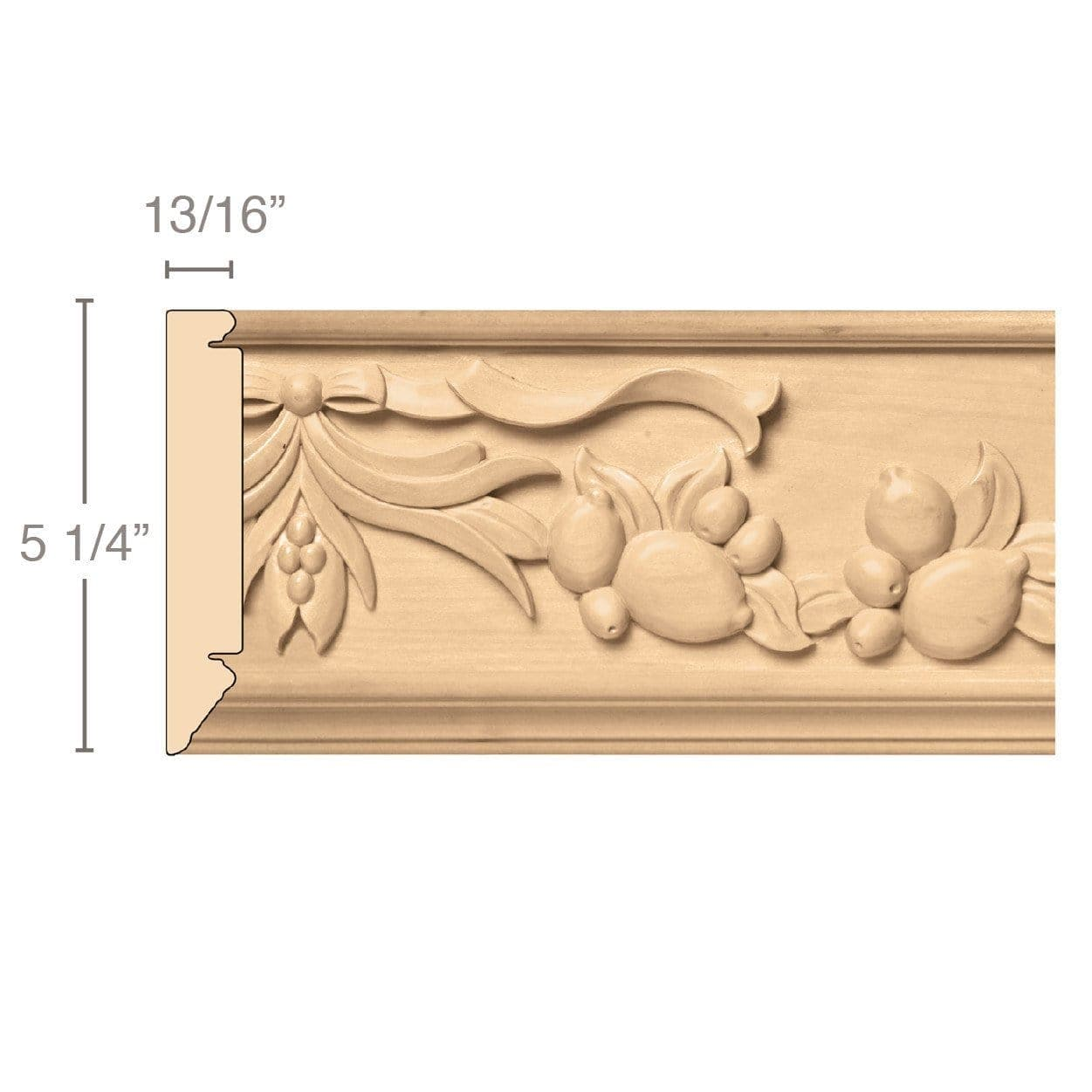 Large Sicilian Frieze (Repeats 15 1/2), 5 1/4''w x 13/16''d x 8' length, Resin is priced per 8' length