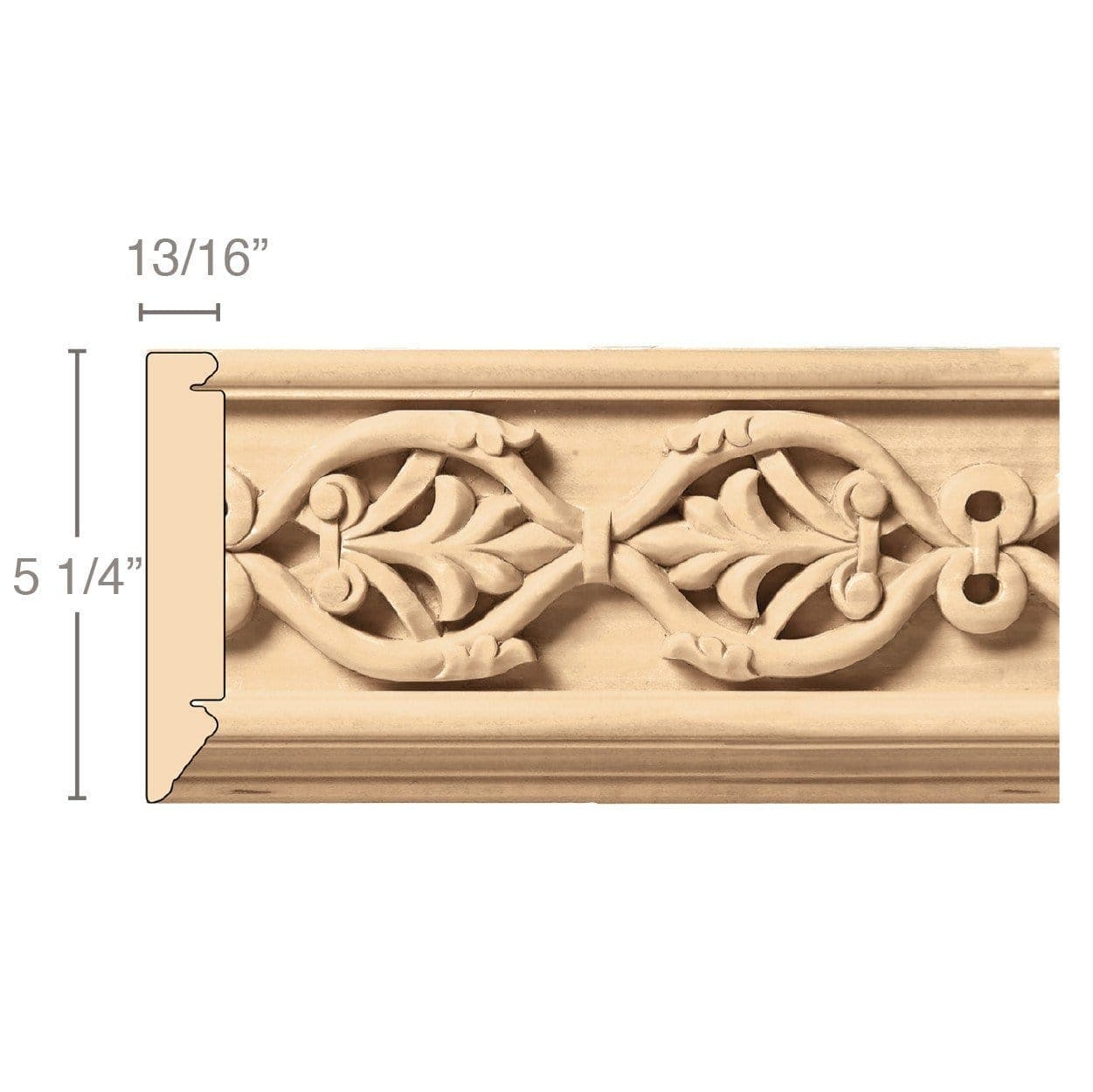 Large Running Palmette Frieze (Repeats 9 3/4), 5 1/4''w x 13/16''d x 8' length, Resin is priced per 8' length