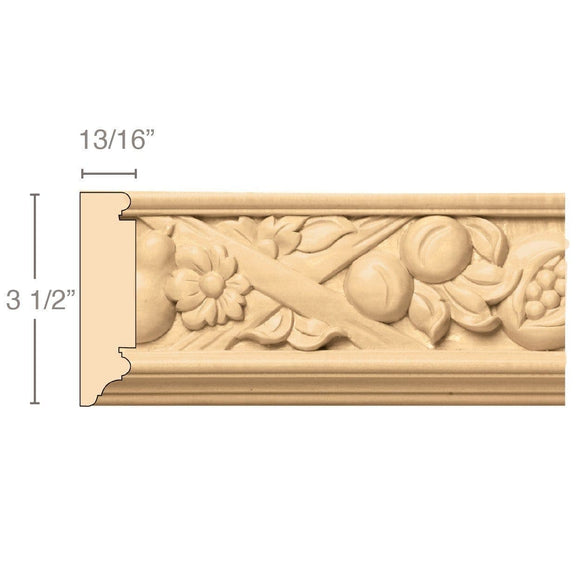 Tuscan Country Frieze (Repeats 13 1/4), 3 1/2''w x 13/16''d x 8' length, Resin is priced per 8' length
