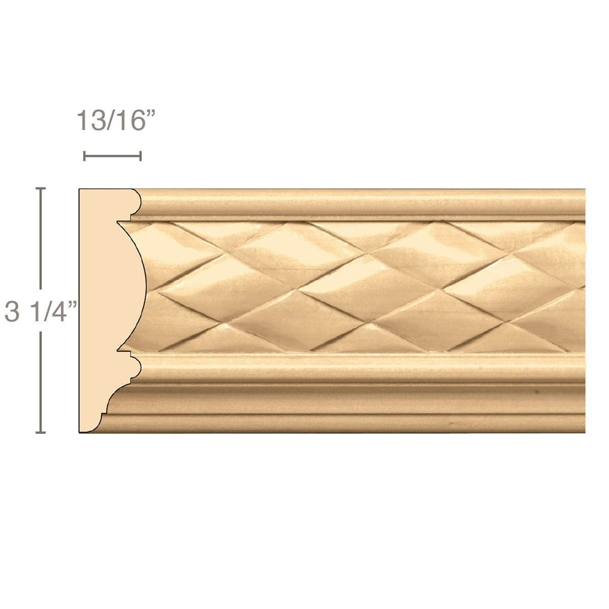 Woven Frieze (Repeats 2), 3 1/4''w x 13/16''d x 8' length, Resin is priced per 8' length