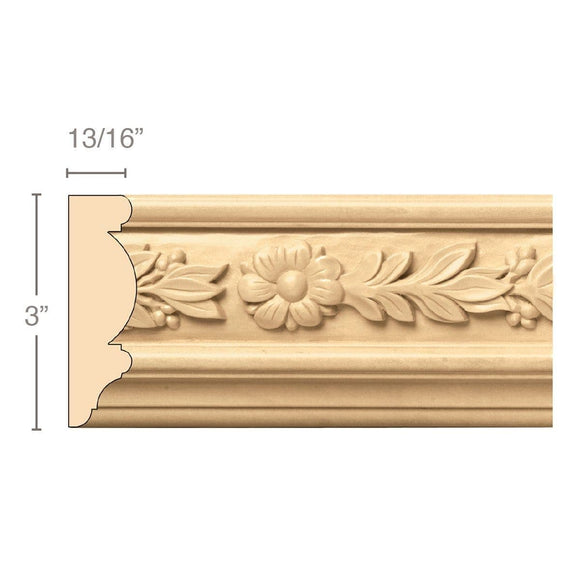 Laurel with Rosette (Repeats 7), 3''w x 13/16''d x 8' length, Resin is priced per 8' length