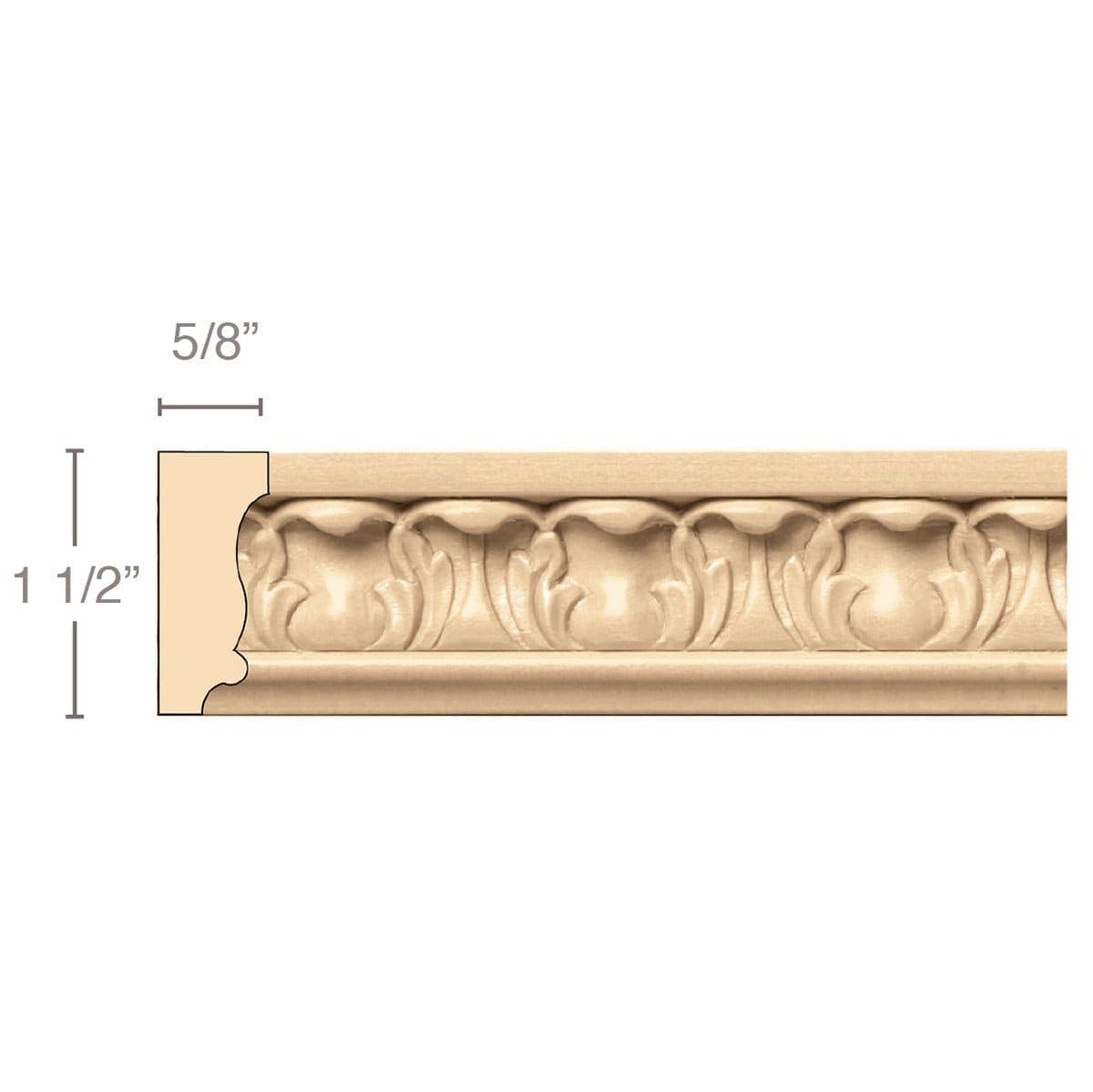 Acanthus Panel Mould(Repeats 1 5/8), 1 1/2''w x 5/8''d x 8' length