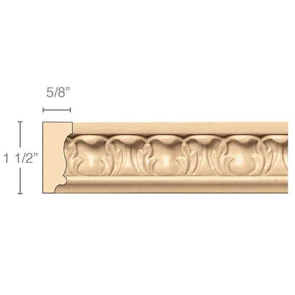 Acanthus Panel Mould (Repeats 1 5/8), 1 1/2''w x 5/8''d x 8' length, Resin is priced per 8' length