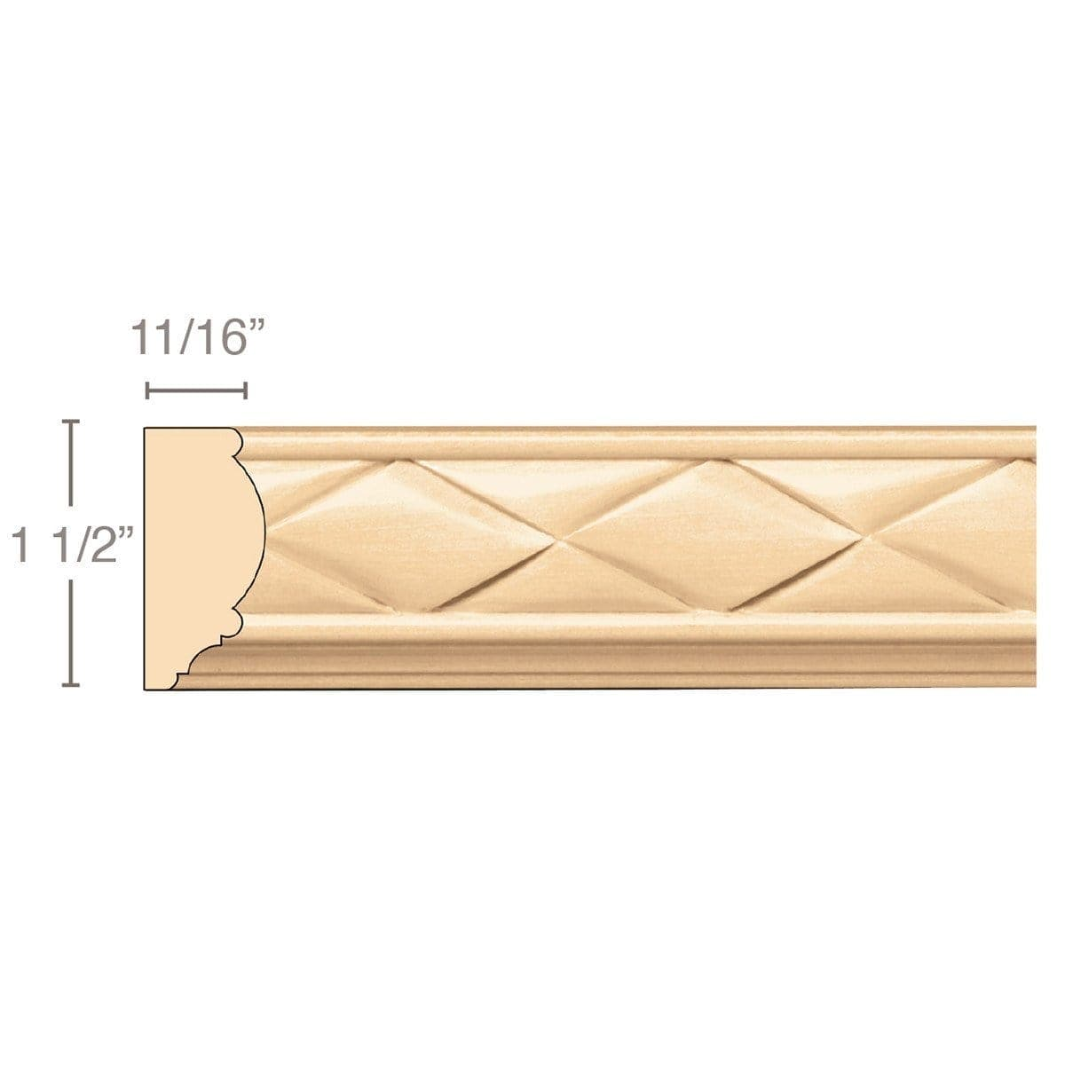 Woven Panel Mould (Repeats 1 3/4), 1 1/2''w x 11/16''d x 8' length, Resin is priced per 8' length