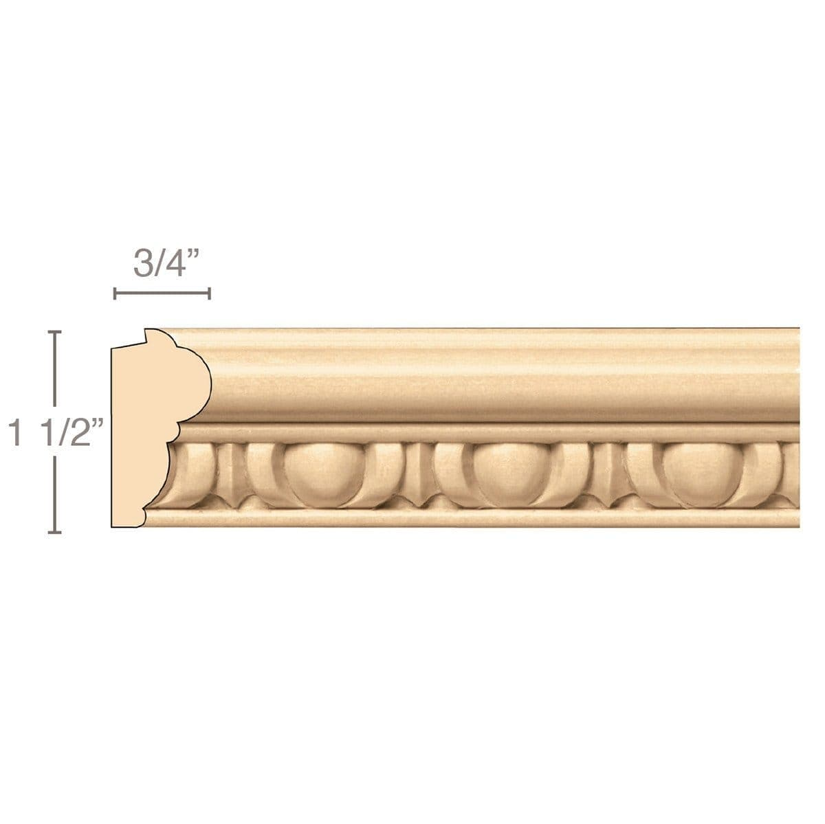 Egg & Dart Lipping Panel Mould(Lips 1/4 to 1/2), 1 1/2''w x 3/4''d x 8' length