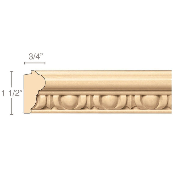 Egg & Dart Lipping Panel Mould(Lips 1/4 to 1/2), 1 1/2''w x 3/4''d x 8' length, Resin is priced per 8' length
