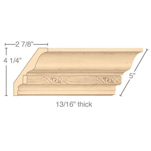 "Light Rail Crown Moulding With Nouveau Insert, 5""w x 13/16""d x 8' length"