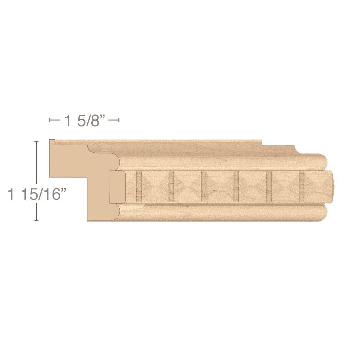 "Traditional Light Rail Moulding With Pinnacle Insert, 1 15/16""w x 1 5/8""d x 8' length"