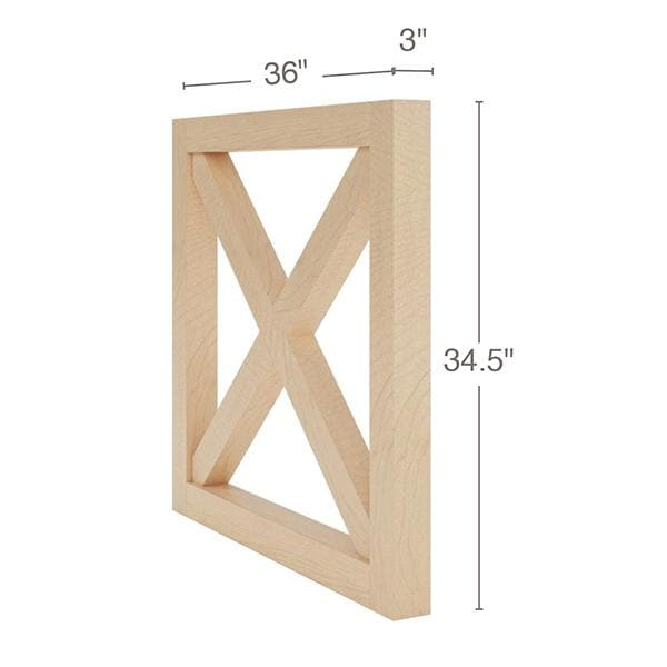 "Farmhouse X-Brace End Panel, 36""w x 34-1/2""h x 3""d"