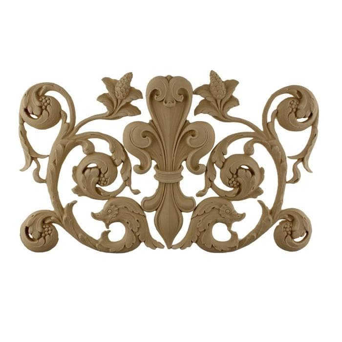 "Fleur de Lis w/ Scrolls, 15 3/4""w x 9 3/4""h x 3/8""d, Made To Order, Not Returnable, Minium Order Amount $300"