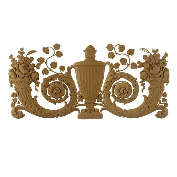 "French Renaissance Urn and Cornucopias Onlay, 24 3/4""w x 11 1/2""h x 3/8""d, Made To Order, Minimum Order Amount $300"