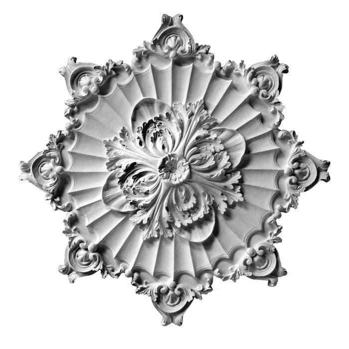 "French Medallion, Plaster, 36""w x 36""h x 1 1/2""d"