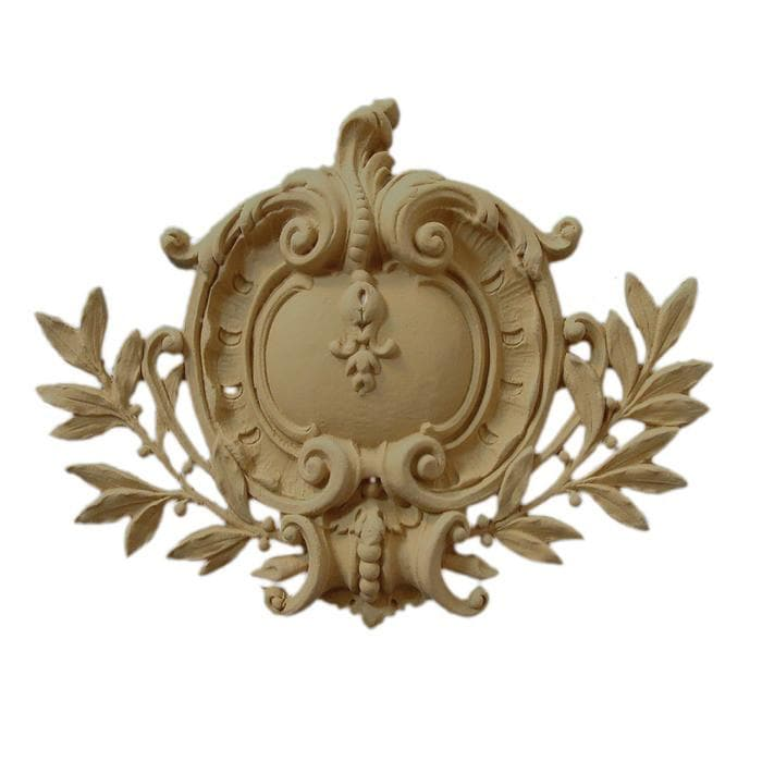 "French Renaissance Shield Onlay, 13""w x 9 1/2""h x 1""d, MADE TO ORDER, NOT RETURNABLE, MINIMUM ORDER AMOUNT $200"