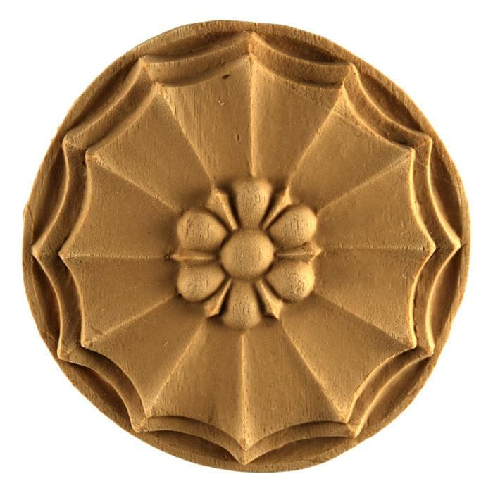 "Colonial Circle Rosette Onlay, 3 7/16""w x 3 7/16""h x 3/8""d, Made To Order, Minimum Order Amount $300"