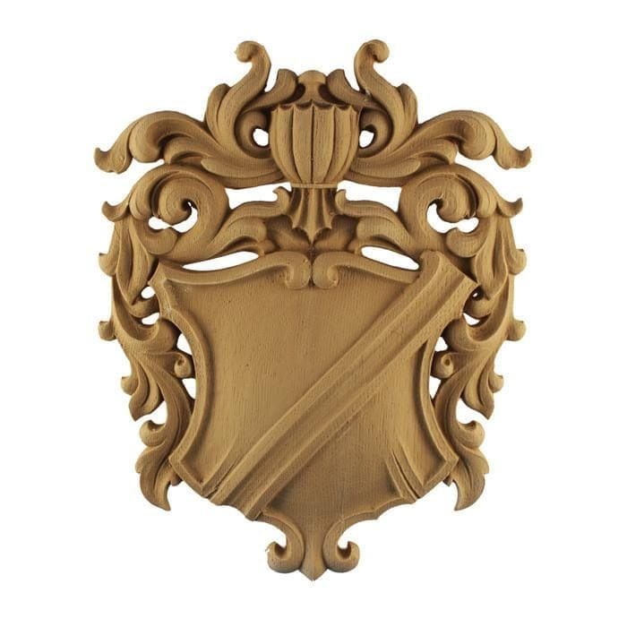 "Heraldic Shield Onlay, 9 1/2""w x 12""h x 3/4""d, MADE TO ORDER, NOT RETURNABLE, MINIMUM ORDER AMOUNT $200"