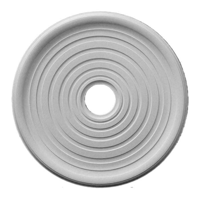 "Smooth Medallion, Plaster, 23 5/16""w x 23 5/16""h x 1 1/4""d"