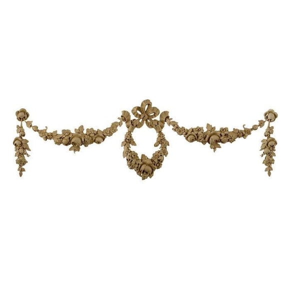 French Renaissance Floral Wreath With Swag, 27 3/4