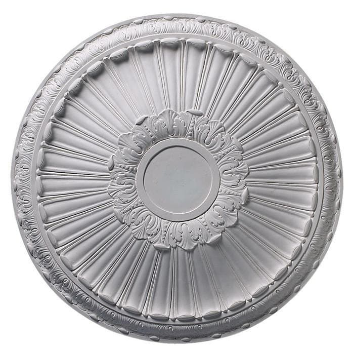 Acanthus & Tongue (7 Center), 34'' dia. x 3 3/8''d, Plaster, Made to Order, Not Returnable