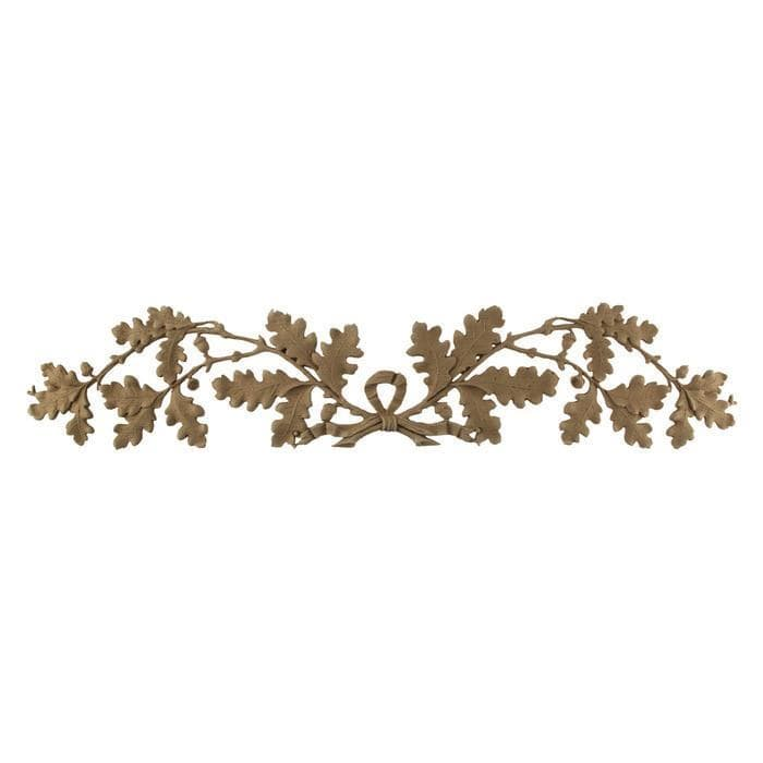 "French Renaissance Oak Leaf Branches Onlay, 23 3/4""w x 4 3/4""h x 1/4""d"