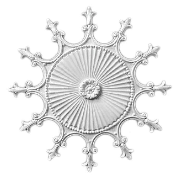 "Colonial Medallion, Plaster, 25""w x 25""h x 3/4""d"