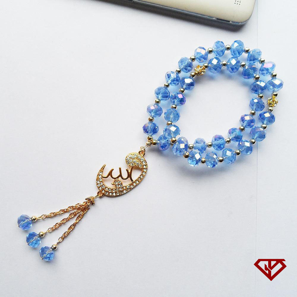 Azure Tespih or Tesbih with an Alhamdulilah Islamic Crystal Tasbih design, Ismaili Muslim Prayer Beads