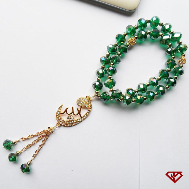 Green Tespih or Tesbih with an Alhamdulilah Islamic Crystal Tasbih design, Ismaili Muslim Prayer Beads