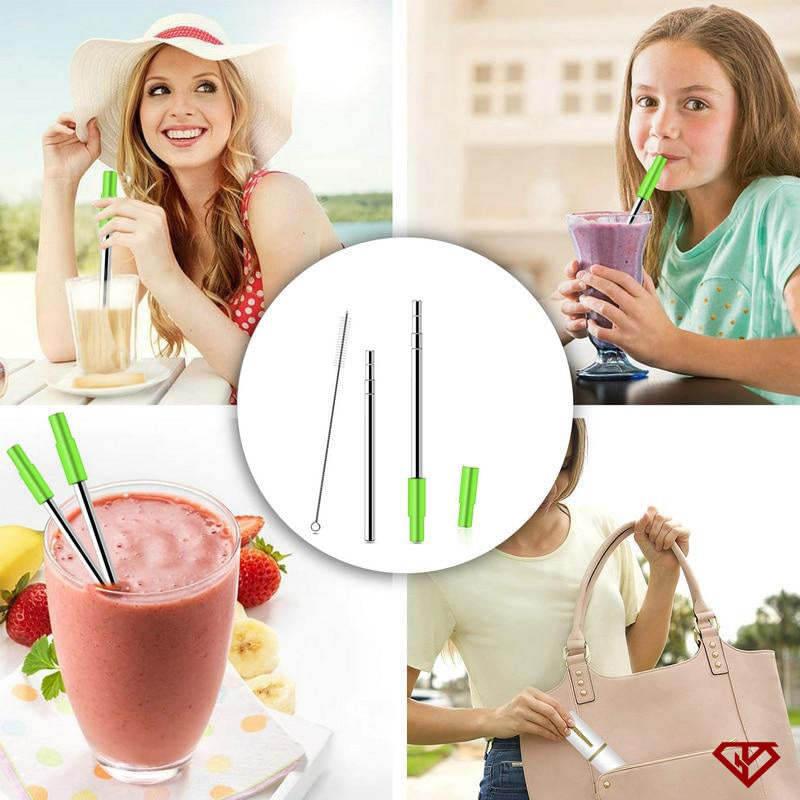 Telescopic Drinking Straw with Brush, Case and Silicon Tip | 50% OFF | Flash Sale