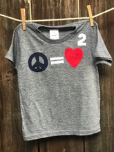 Load image into Gallery viewer, Kid's Peace Equals Love Squared Tee