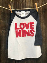 Load image into Gallery viewer, Kids Love Wins Baseball Tee