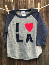 Load image into Gallery viewer, Kid's I love LA Baseball Tee