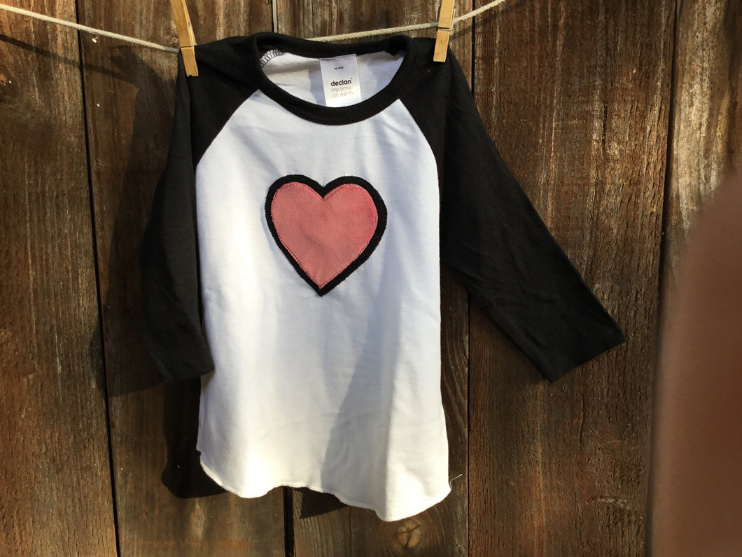 Kids Double Heart Baseball Tee