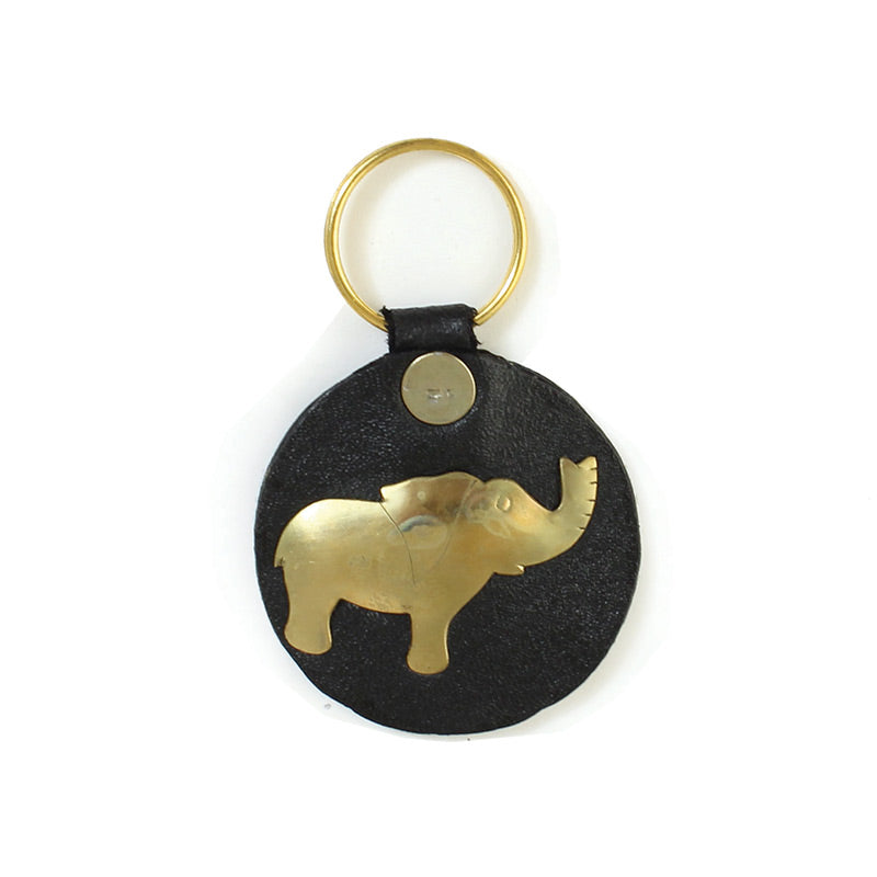 Leather African Elephant Key Chain