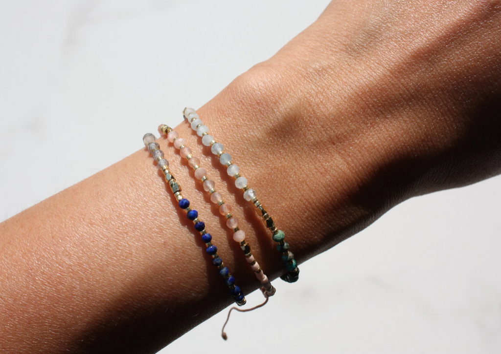 Black + Jane Good Vibes Gemstone Bracelet Bundle - Rose Quartz