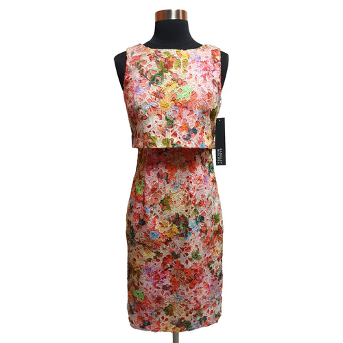Badgley Mischka Cutout Overlay Floral Dress