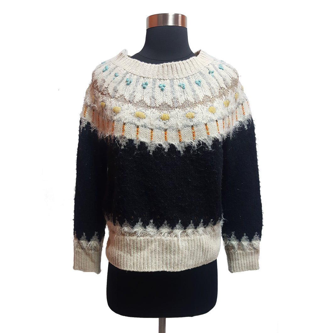 Sleeping In Snow Embellished Crop Sweater